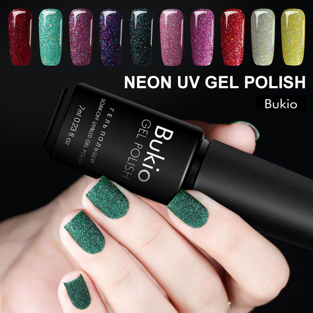 Bukio Semi Permanent Enamel Neon Nail Gel Polish All for Manicure and Nail Design Gel-lacquer Nails Material Poly Gel Set