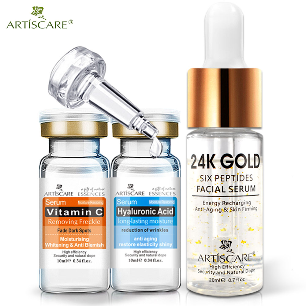 ARTISCARE Vitamin C Serum+Six Peptides Serum 24K Gold+Hyaluronic Acid Serum Anti-Aging Moisturizing Skin Care Whitening Brighten(China)
