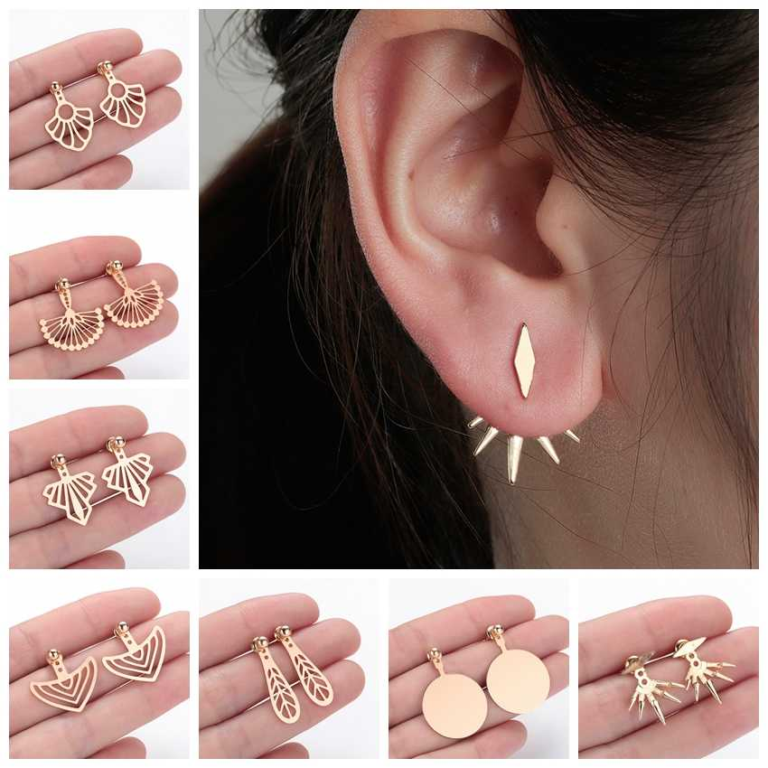 Ethnic Cuff Earrings Women Ladies Ear Jacket Vintage Fashion Minimalist Jewelry Silver Geometric Simple Earrings Dropshipping