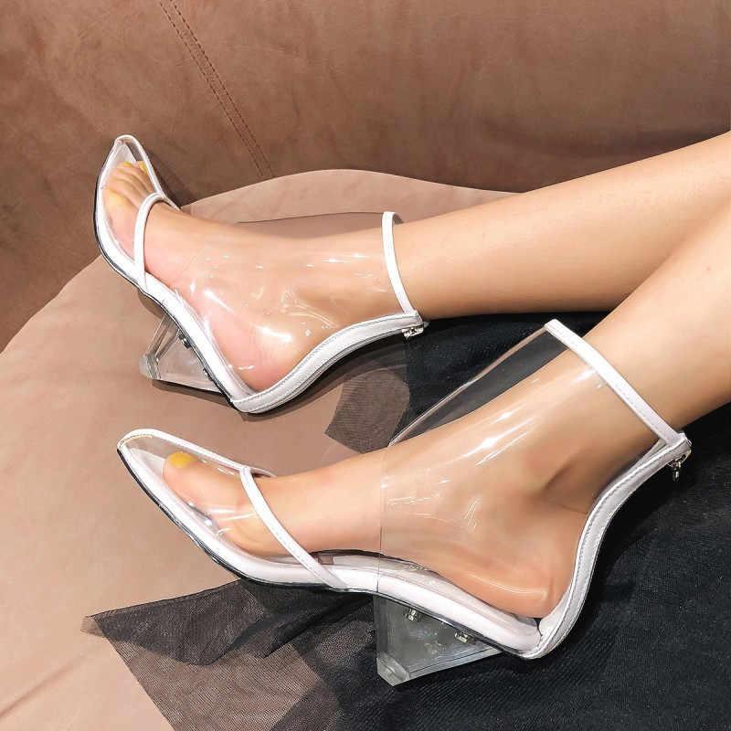 Enkellaars voor vrouwen transparant clear Pvc hoge Hakken korte botas mujer zilveren sandalen voor dames 2019 uitgesneden zomer schoenen