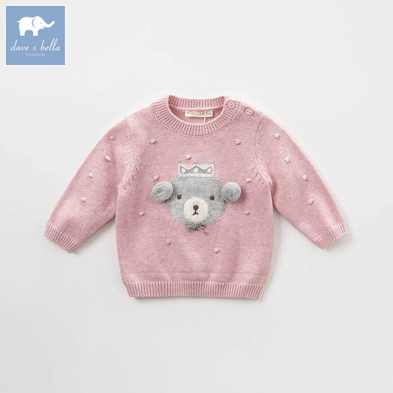 DB8435 dave bella autumn knitted sweater infant baby girls long sleeve pullover kids toddler tops children knitted sweater