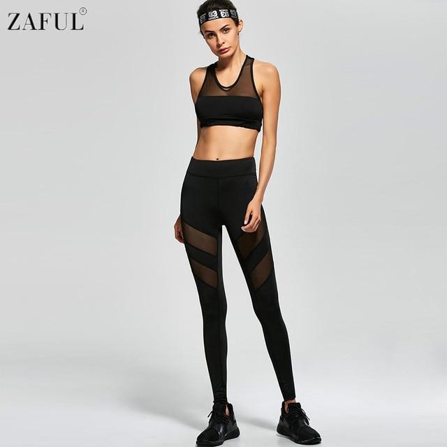 9d8ebf542680c ZAFUL 2017 Sexy Maille Patchwork Femmes De Yoga Ensemble Elasitic Gym  Exécution De Danse Fitness Sportwear