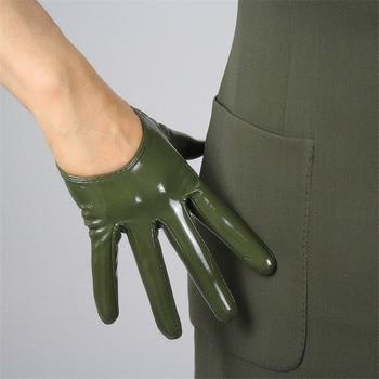 Women Fashion PU Leather Ultra short gloves  Patent Simulation Bright Green Multicolor Precision Unlined TB08
