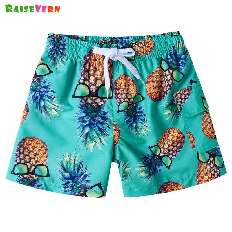 Pineapple Print Hawaiian Beach   Shorts   Kid Boys Elastic Waist   Short   Summer Children Casual Cartoon Pant Swim Trunk 4 6 8 9 10Y
