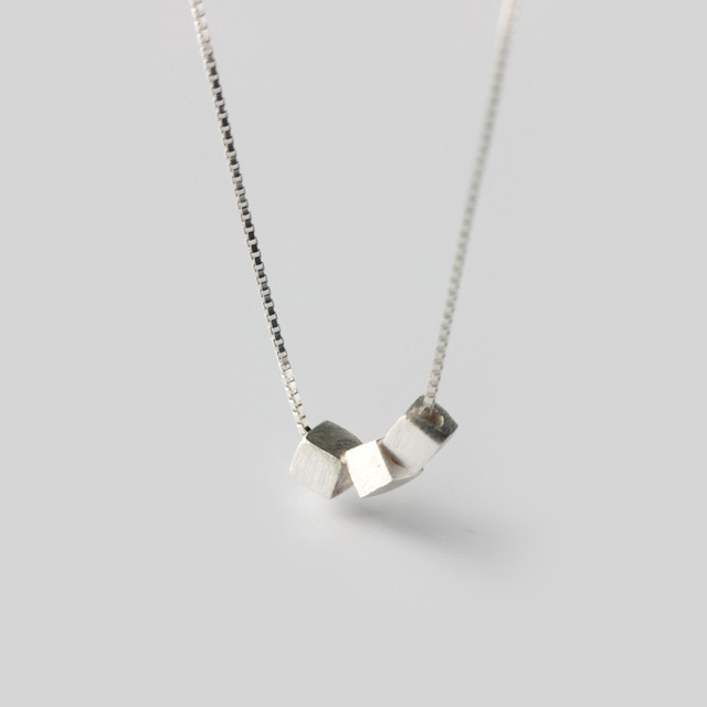 3961585c74dd5e MIESTILO Dainty Solid 925-sterling-silver Square Cube Necklaces & Pendants  | Simplism Sterling-silver-jewelry Wholesale Gift