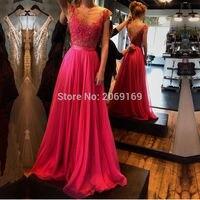 Vestidos de festa 2019 элегантное вечернее пикантное платье для выпускного с открытой спиной, фуксия, Кружевная аппликация, ТРАПЕЦИЕВИДНОЕ длинное п