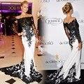 Blanco Negro 2017 de La Celebridad Formal Vestidos de Sirena de Manga Larga de Satén Appliques Del Cordón Largo Vestido de Noche de Famosos Vestidos de la Alfombra Roja
