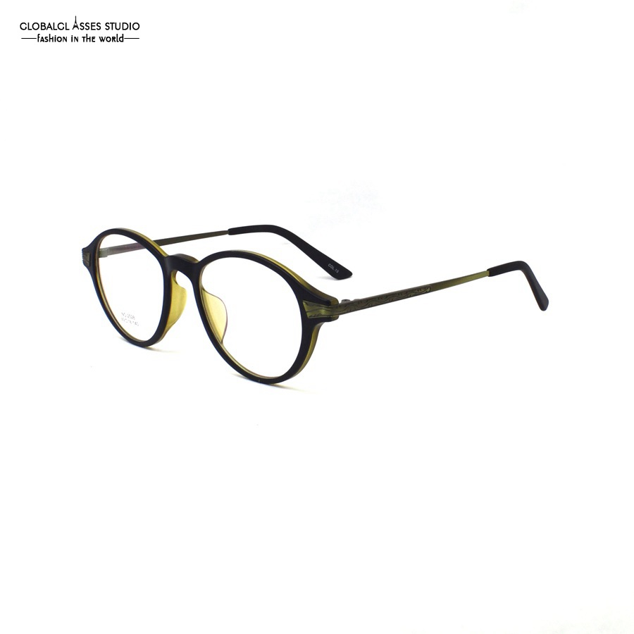 Super Light Ретро Круглый ацетат очки Для женщин и мужские черные золотистой металлической полосой оформлен храм лоскутное очки № 2528 col.13