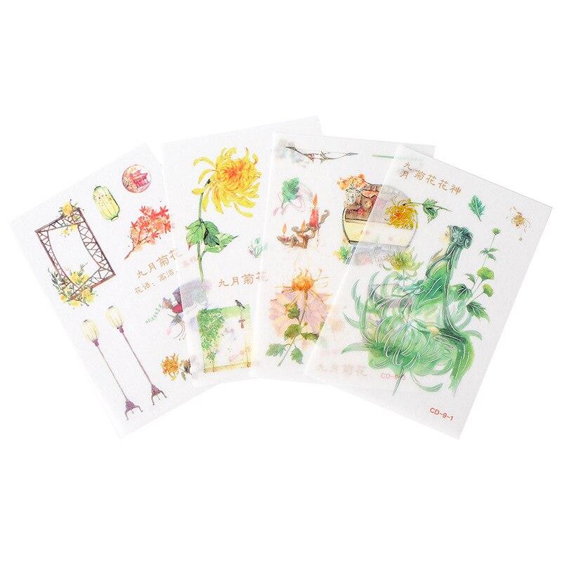 Купить с кэшбэком Creative And Paper Stickers Twelve Flower God Series Silver Pressed Antique Girl Daily Stickers
