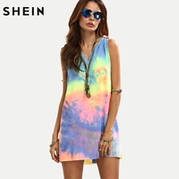SHEIN Ladies Summer Style Multicolor Tie Dye V Neck Sleeveless Knotted Shift Dress Hollow Out Shift