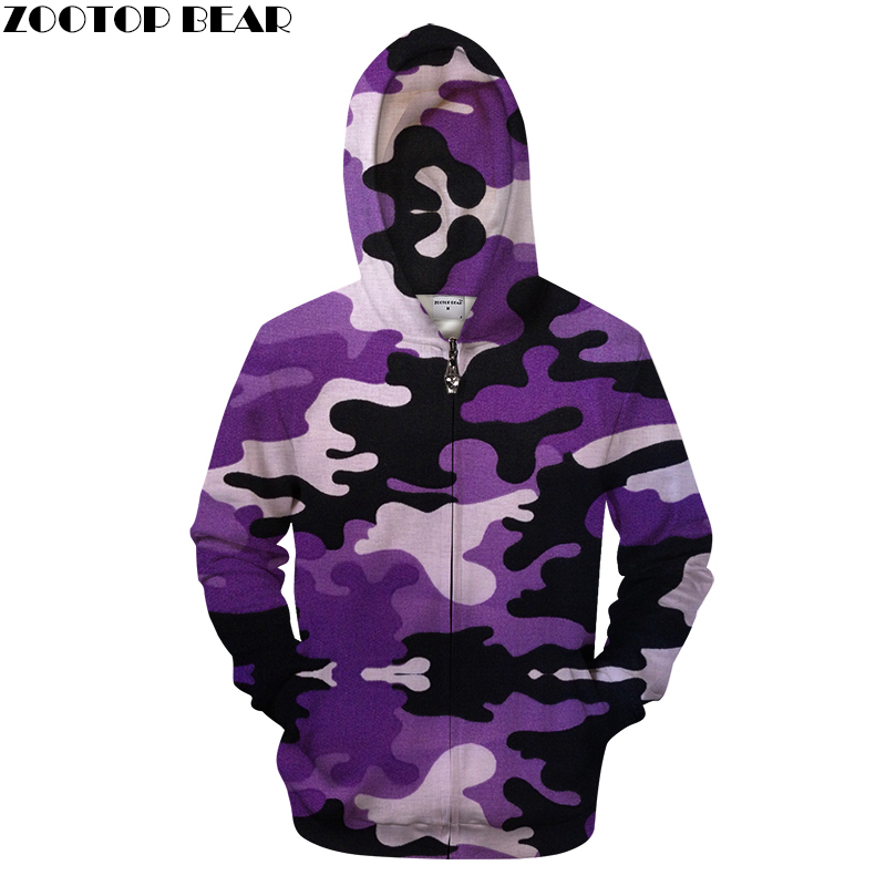 Purple Camo Unisex Hoodies Sweatshirts Camouflage Zipper Streetwear Brand Jacket Hoodie Funny Casual Male Clothing Drop Ship