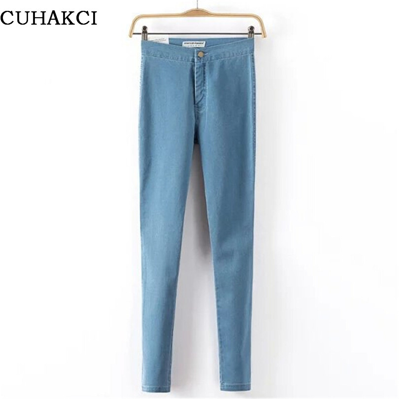 CUHAKCI Plus Size Jeans Femme Jegging Women Skinny Vintage High Waist Slim Stretch Black Denim Cotton Washed Pencil Pants K093 rosicil new women jeans low waist stretch ankle length slim pencil pants fashion female jeans plus size jeans femme 2017 tsl049