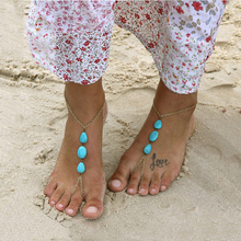 New Bohemian Blue Beads Anklets for Women Vintage Gold color Sexy Beach Barefoot Sandals Ankle Bracelet Foot Chain Jewelry