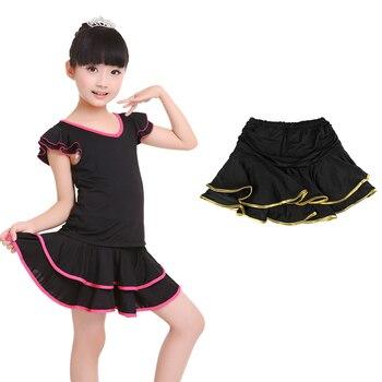 Wholesale Cute Spandex Latin Dance Skirt Girls Kids Children Ballroom Dancing Skirt Inside With Shorts Mini Skirt 3