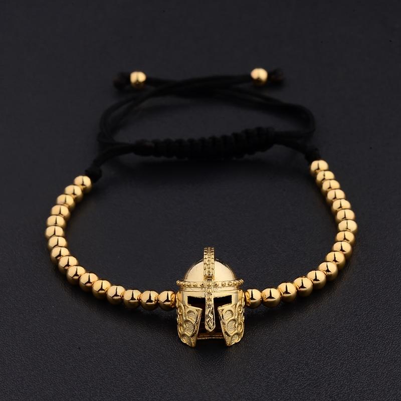 New Design Black CZ Stainless Steel Beads Braiding Buddha Bracelet Spartan Helmet Charm Bracelets For Women/Men Jewelry AB1016 1