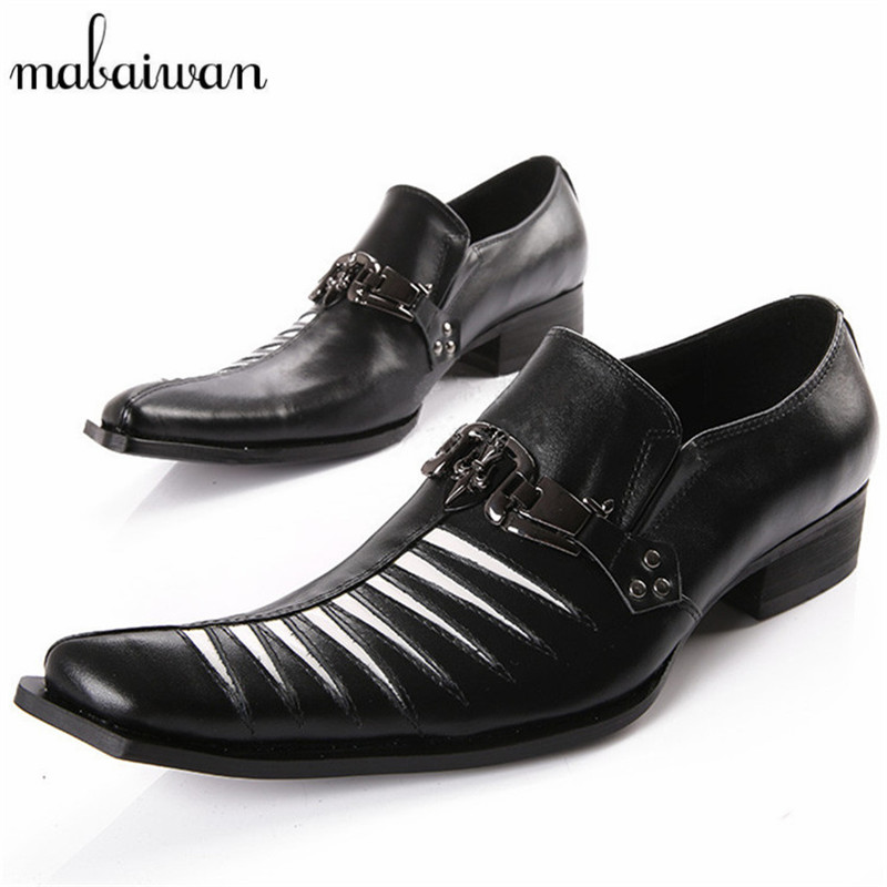 Mabaiwan Black Metal Decor Men Genuine Leather Oxfords Slip On Mens Wedding Dress Shoes Square Toe Business Leather Shoe Flats top quality crocodile grain black oxfords mens dress shoes genuine leather business shoes mens formal wedding shoes