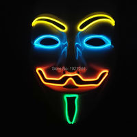 Hot sales Fashion 4 colors 100pcs EL Wire Glowing V for Vendetta Mask+Sound activated Inverter Light up Glow Party Mask
