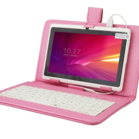 Hot sale!!YUNTAB 7 inch A33 Quad Core 1.5GHz white Q88 Tablet PC 1024 x 600 Dual Camera Android Tablet with Pink Keyboard Case