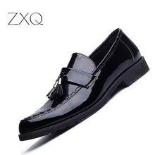 Новый Модные мужские лоферы Роскошные Кожаная обувь на плоской подошве для Мужские туфли для вождения Лакированная кожа Лоферы для женщин Для мужчин повседневная обувь
