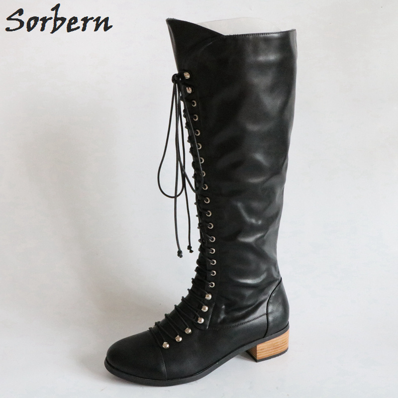 Sorbern Knee High Boots Low Heels Round Toe Custom Colors Side Zipper Shoes Ladies Martin Boots Fall Shoes Women Boots Winter beango europe retro fashion do old ladies knee high boots round toe square heels buckle side zipper women motorcycle boots