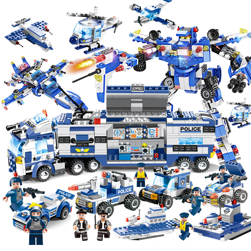 725PCS 825PCS Upgrade 8 IN 1 Robot Aircraft Car City Police Series SWAT Series Building Blocks Military Bricks Toy For Children цена