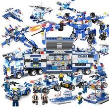 725 шт. 825 шт. обновления 8 в 1 робот самолет городской автомобиль полиции серии SWAT серии строительные блоки военный конструктор игрушка для детей