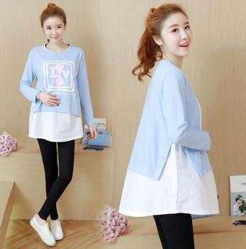1839f4525 De moda de algodón Patchwork camisetas de maternidad Primavera de 2019 nueva  camiseta ropa para mujeres embarazadas embarazo Tops