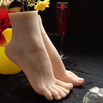 New Arrival Silicone Realistic Life Size One Pair Female Mannequin Manikin Foot Model Dummy Foot For Shoes/Socks Display