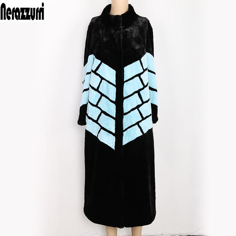 Nerazzurri fluffy fake fur coats women black and blue color block winter long furry luxury plus