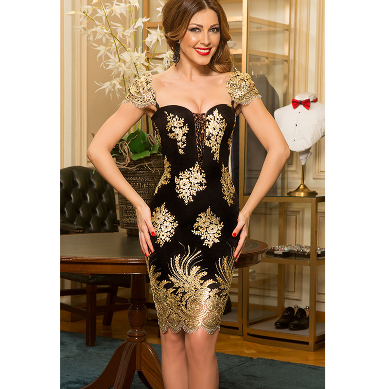 SEBOWEL Sexy Black Gold Embroidered Bodycon Party Dress 2019 Women Elegant  Sequin Lace Club Party Dress Vestido De Festa Curto -in Dresses from Women s  ... 775c842a7186