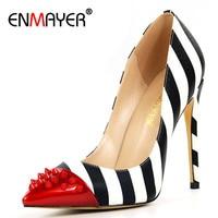 ENMAYER Blanc Chaussures Femme Talons hauts Bleu D'été Pompes Rouge Bout pointu Slip-sur 2017 Top Qualité Pompes Chaussures Plus La Taille 35-46