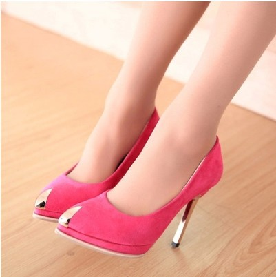 New Sexy Brand Mental Heel Womens Shoes Suede Leather Red Bottom High Heels font b Women