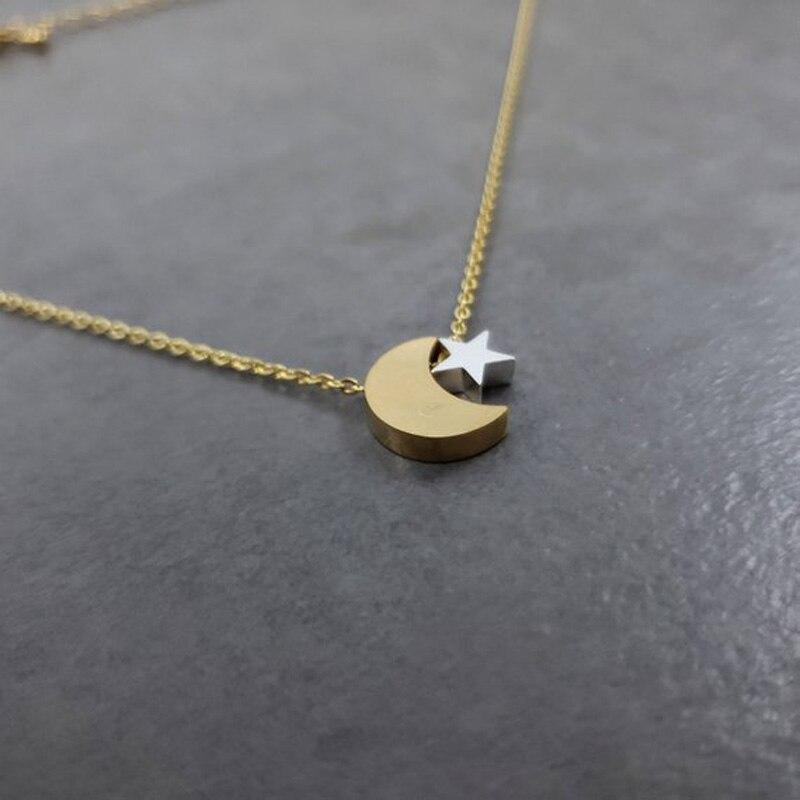 revendeur 818d2 1b6b5 Croissant de lune et étoile pendentifs colliers pour femmes Vintage bijoux  en acier inoxydable longue chaîne demoiselle d'honneur cadeau Collares ...