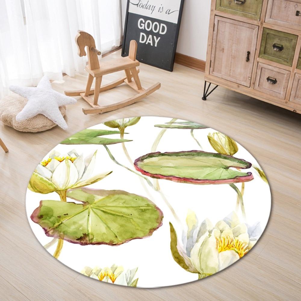 Watercolor Green Lotus Home Bedroom Carpet Round Floor Mat Non-Slip Bathroom Rug