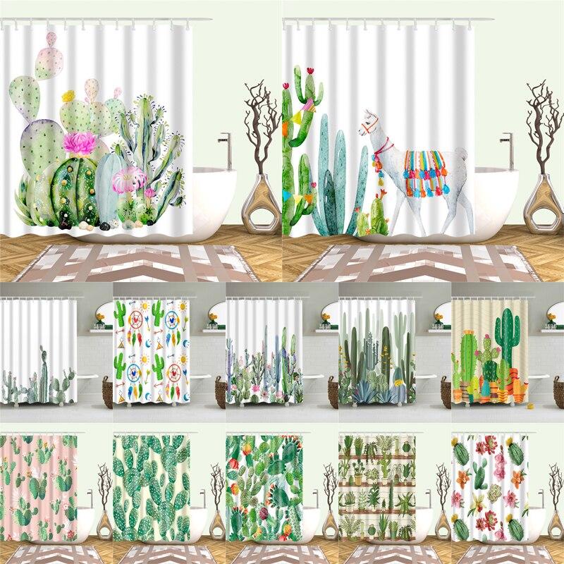 Cactus planta de Impressão Cortina de Chuveiro Para Crianças Adultos Banheiro Impermeável Cortina De Banho De Poliéster Com Ganchos cortina de ducha