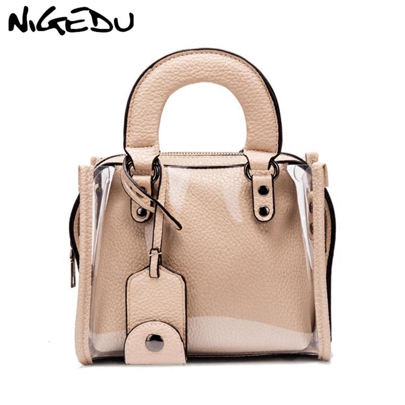 NIGEDU Модные женские Сумки Малый 2018 летние прозрачные сумка женская пляжная сумка сумки bolsa бежевый