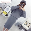 2016 New Arrival Women's Autumn Clothes Knitting Solid Pullover Top And Pencil Skirt Set Female Casual Suits 3 Colors In