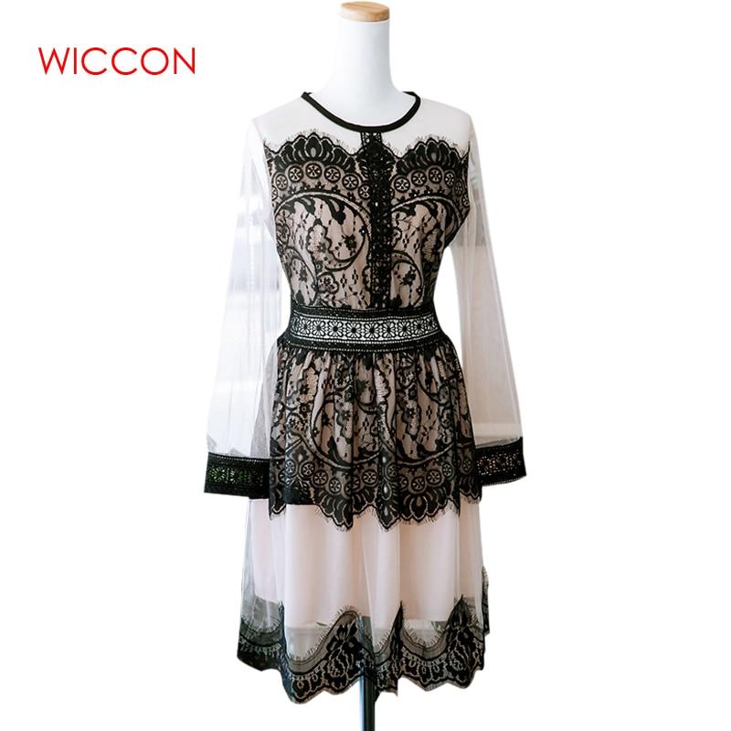 WICCON Lace Dress Women Patchwork O-Neck Long Sleeve Zipper Elegant Beauty Women Summer Knee-Length Spring Autumn New Lace Dress