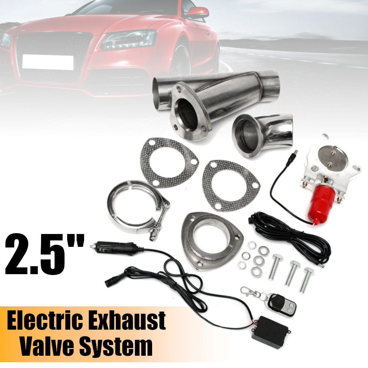 2.5 Car Electric Exhaust Downpipe Exhaust Tips Cutout E Cut Out Dual Valve Controller Remote Kit