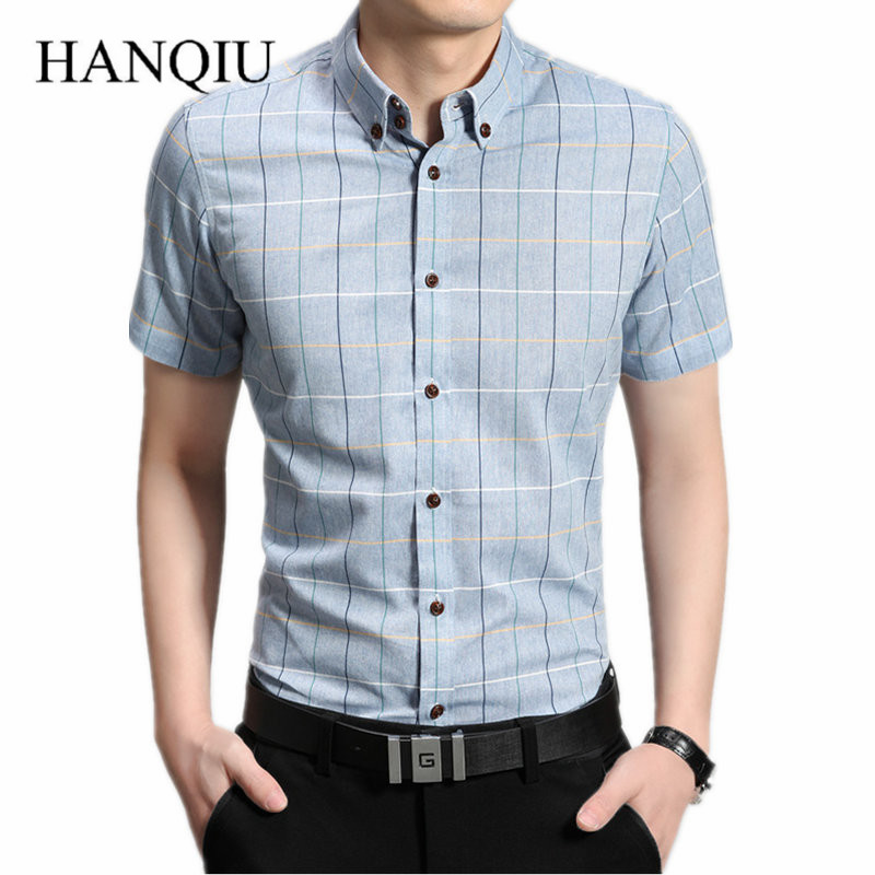 2020 New Arrival Summer Checkered Shirt Men Short Sleeve Shirts Cotton Casual Button Down Shirts Social Chemise Homme