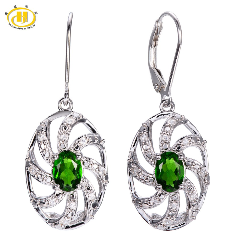Hutang 1.8ct Natural Chrome Diopside Drop Earrings Solid 925 Sterling Silver Gemstone Fine Stone Jewelry Women Gift New Arrival wholesale new fashion trendy 925 sterling silver zircon natural gemstone crystal green diopside pendant drop earrings for women