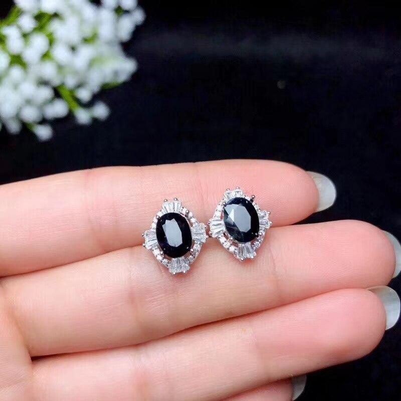 Natural zafiro juegos de joyas para mujer 6x18mm genuino collar de piedras preciosas/anillo/Stud pendientes joyería fina S925 18K Whitegold #111 - 4