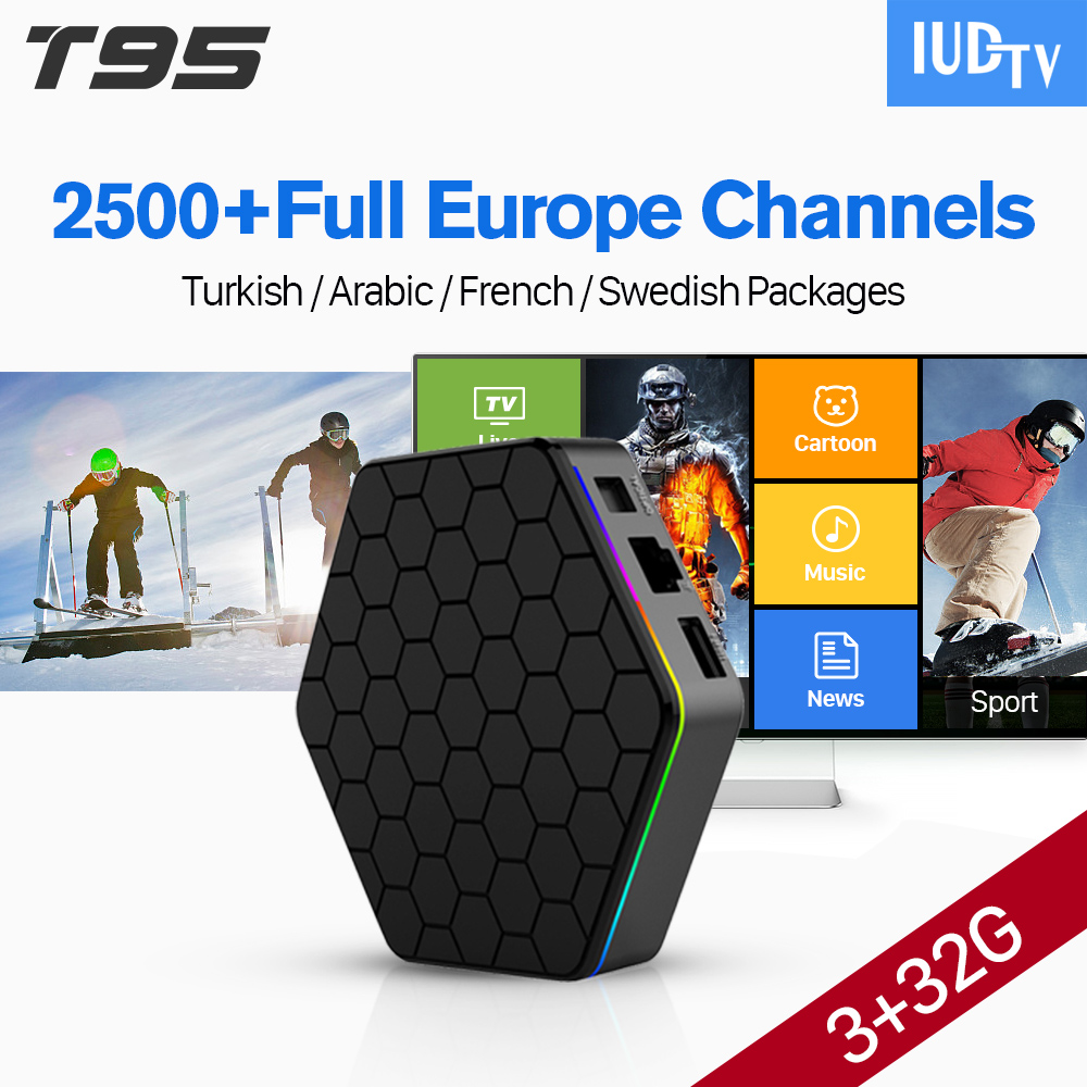 Android 7.1 Arabic IPTV BOX T95ZPLUS Free 2500 Europe Arabic IPTV Channels S912 3GB/32GB TV Box WIFI H265 Media Player dhl free shipping 3u chassis 8 channels mpeg4 avc h 264 hd hdmi to iptv encoder for iptv live streaming