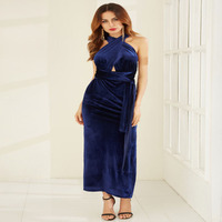 2018 Halter Slit Strapless Party Ankle Length Sexy Slim Woman Girl High Grade Club Dress S