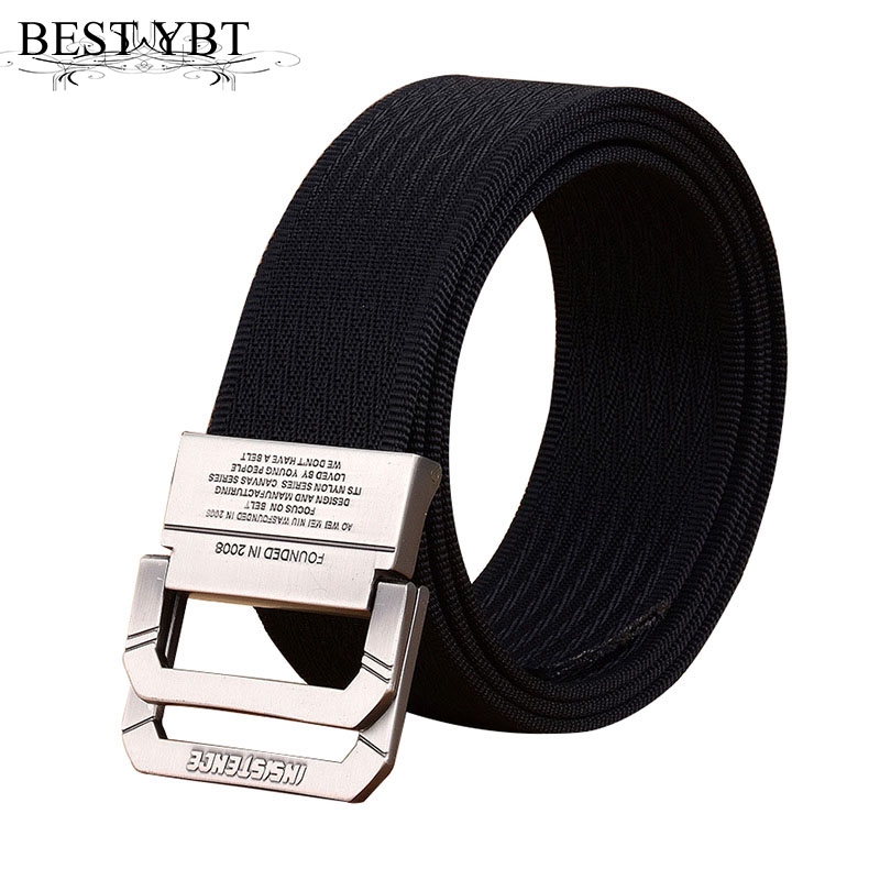 Best YBt Nylon Canvas Belt men Army Tactical Belts Selling man Outdoor sport double buckle weave Nylon Canvas cowboy pants Belt