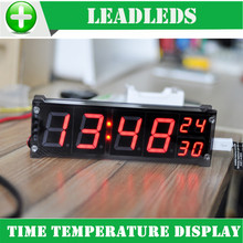 1.2 inch 12v 24v DS3231 digital led display clock module luminous electronic clock with temperature alarm memory function DIY