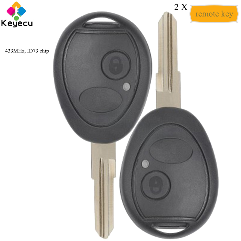 KEYECU Pair Aftermarket Replacement Remote Car Key With 2 Button 433MHz ID73 Chip FOB for Land Rover Discovery 2 FCC 73370847C