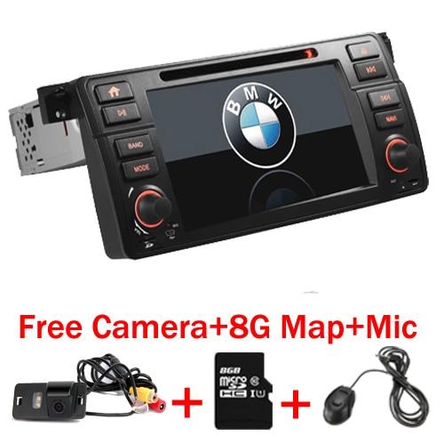 7 Digtal HD Autoradio gps navigation pour bmw e46 dvd M3 3g GPS Bluetooth Radio RDS USB SD commande au volant Caméra Libre + Carte