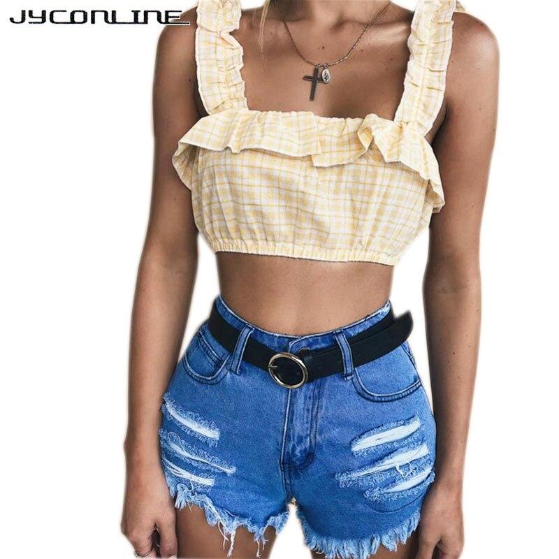 bf6619fad775 JYConline cuadros verde cultivo superior verano volantes volver mujer  elástico pantalones capri ...