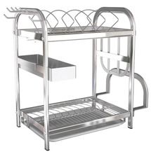 2-Tier 304 Stainless Steel Dish Drainer Kitchen Rack Cutlery Holder Glasses,Cups ,Bowls, Plates